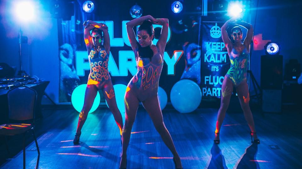 fluo party dancers, tancerki, pokaz tańca, fluo show